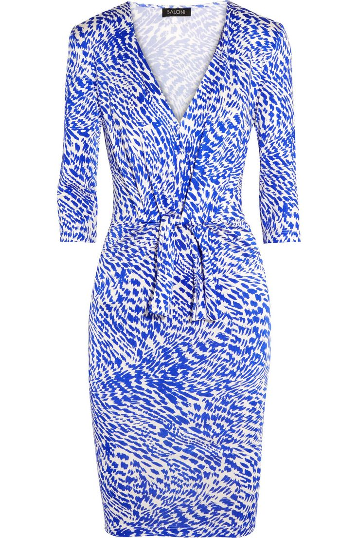 Saloni Mariana tie-front printed jersey dress