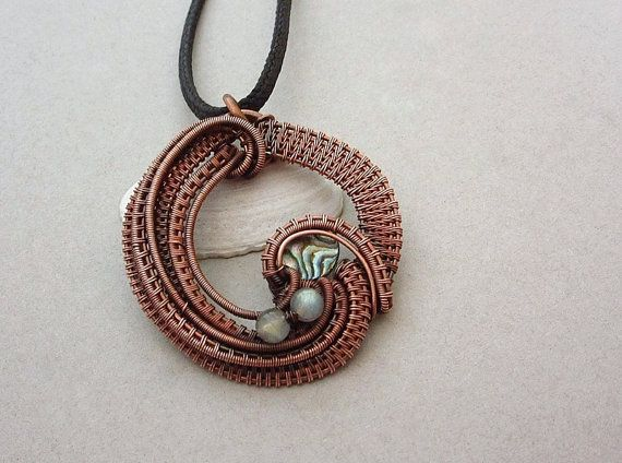 Wire wrapped pendant necklace wire wrapped by AquascentCreations
