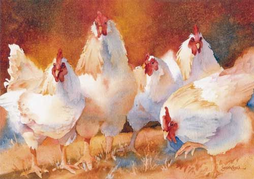 The Animal Kingdom WatercolorsCrouch Watercolors, Chicken Susan, Animal Kingdom, Watercolors Chicken, Art Chicken, Susan Crouch, Chicken Hens, Chickens Th Animal, Watercolors Susan
