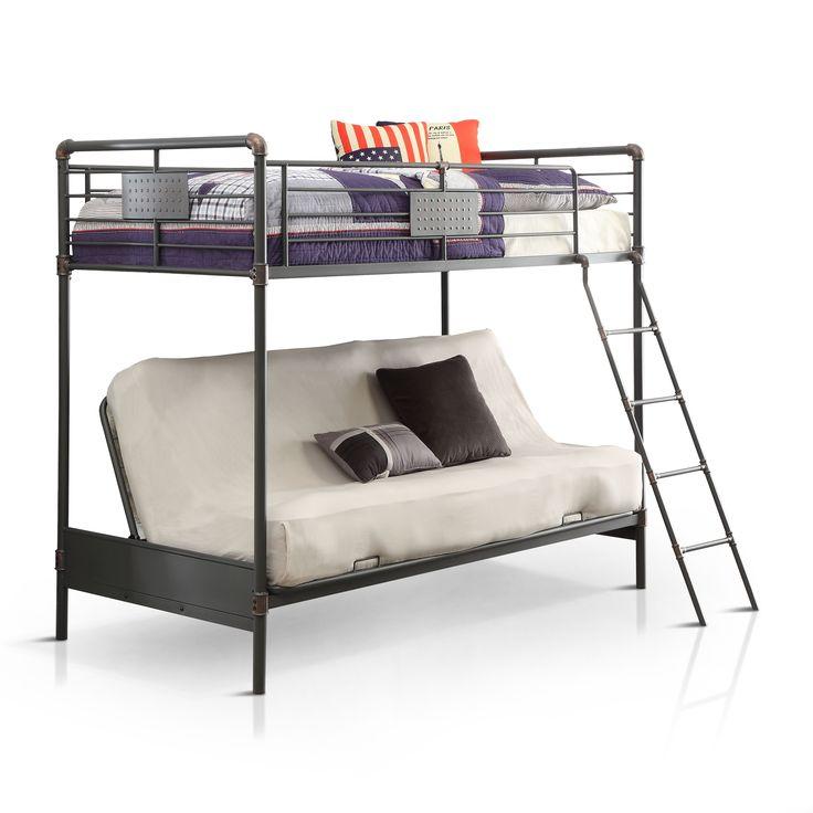 Furniture of America Herman Industrial Antique /Futon Loft Bunk Bed