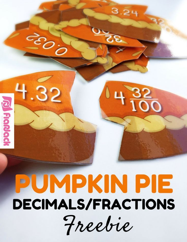 FREE Pumpkin Pie Decimal Fraction Puzzles - Give students a basic understanding of the relationship between decimals and fractions with these 21 pumpkin pie puzzles.