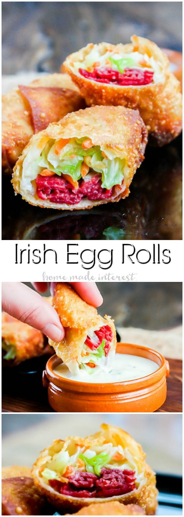 Irish egg rolls take all of the ingredients for a traditional corned beef and cabbage dinner and stuff them into a crispy egg roll.