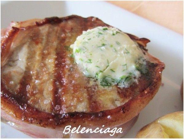 Filet mignon (filete miñón) a la parrilla con patatas asadas. Belenciaga