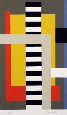 Juhana Blomstedt: Miekka ja vaaka, 1999, serigrafia, 14x23 cm - Taidekeskus Salmelan grafiikkakokoelma.