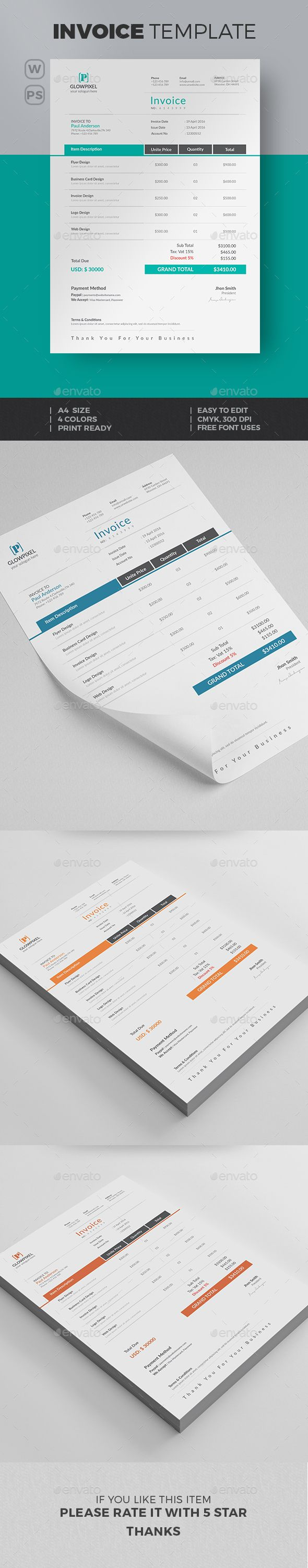 Invoice Template PSD, MS Word. Download here: http://graphicriver.net/item/invoice/15816811?ref=ksioks
