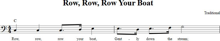 Row, Row, Row Your Boat sheet music with chords and lyrics for bass clef instruments including bassoon, cello, trombone, and others. View the whole song at http://chordzone.com/music/bass-clef/row-row-row-your-boat/