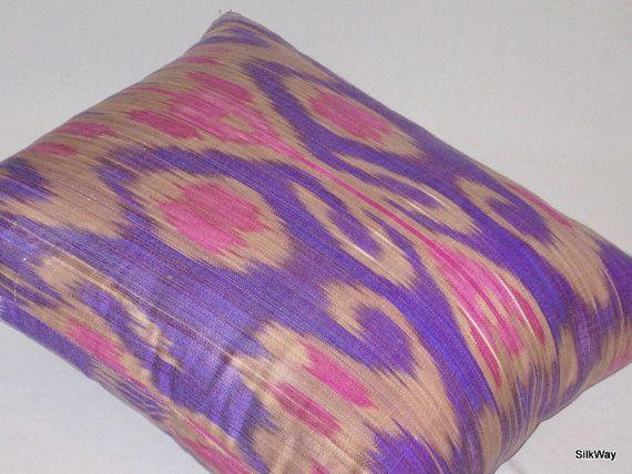 Violeta ikat, funda de almohada de ikat, almohadilla violeta, 16 x 16, ikat cojín, ropa de cama de ikat