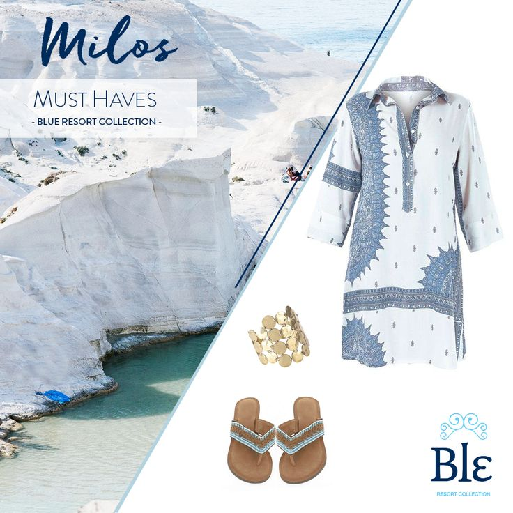 We love Milos and its carefree vibe! No need for all of your preppy clothes here, 'cause you will spend most of your time on the gorgeous beaches! Must-haves: your most comfortable Long Shirt and a pair of flat sandals.  #BleResortCollection #SummerFashion SummerStyle #Style #Holidays #Milos #GreekIslands #Sandals #FlatSandals #Shoes
