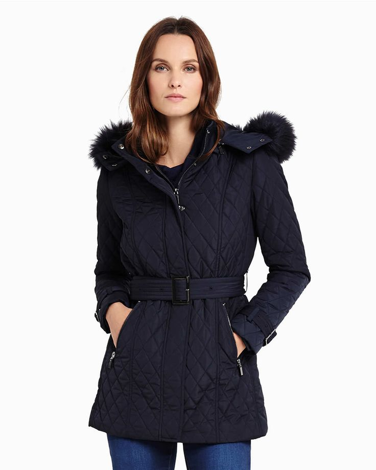 Phase Eight Mistico Puffer Jacket Blue - reduced to £139 - detachable hood. I like this!
