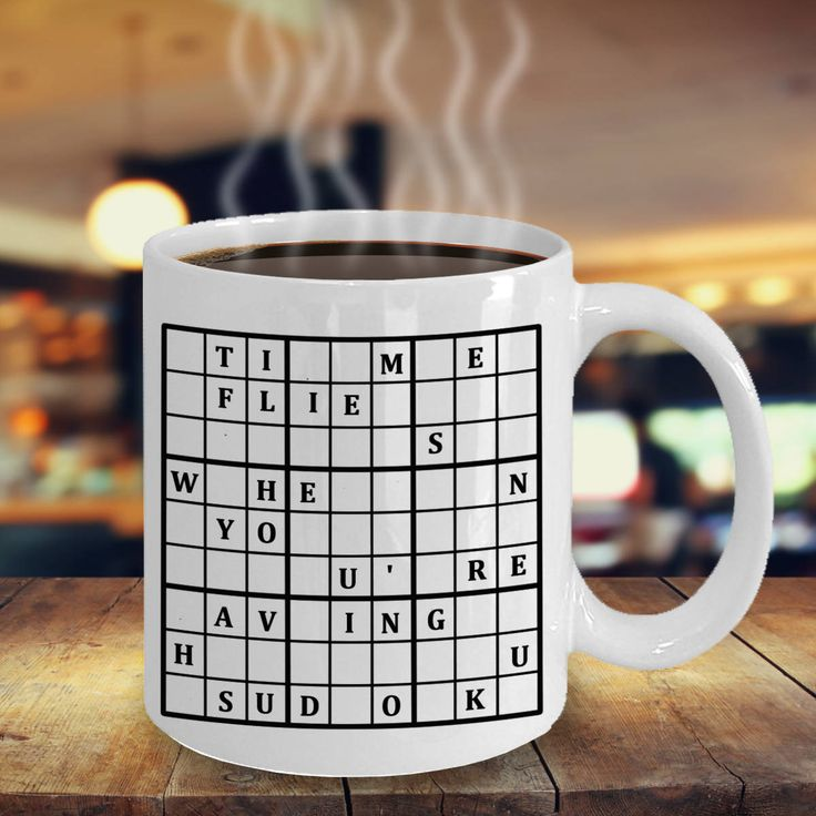 Sudoku Mug 'Time Flies When You're Having Sudoku', Double-Sided Print, 11oz or 15 oz by PortunaghDesign on Etsy