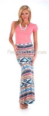 Blue, coral and cream Aztec Maxi Skirt.