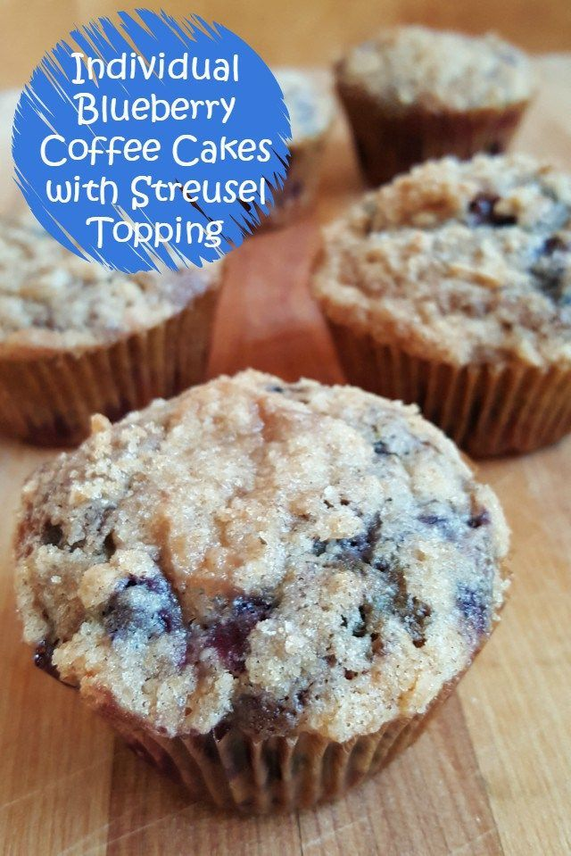 Individual Blueberry Coffee Cakes with Streusel Topping. Mini food is SO fun. These are easy to make and a great brunch item to serve for friends at a party or just for a special breakfast. Easy and delicious recipe!