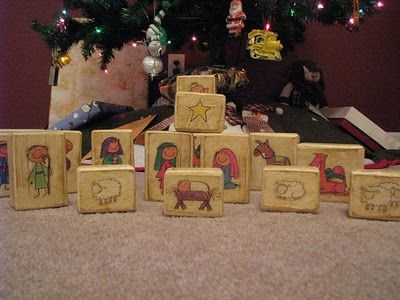 Block Nativity Scene ~ cute, unbreakable idea for babies and toddlers: