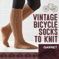 Vintage Bicycle Socks to Knit Kit in Garnet #vintagebicycles