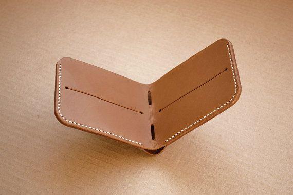 Slim Bifold Leather Wallet Light Brown by TafferLeatherGoods-SR
