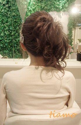ナチュラルサイドダウンの美人花嫁さま♪リハ編 |大人可愛いブライダルヘアメイク『tiamo』の結婚カタログ