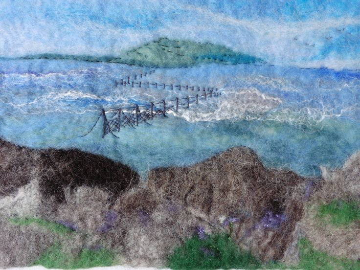 I have finished stitching the fishing nets on this test piece; now I'm adding in some tiny stitches to add definition to the sea thrift.  You can follow the progress of this piece on my Facebook page, and see more work by LittleDeb on Folksy and Etsy.