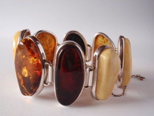 Obecnie na aukcjach #Catawiki: Sterling Silver & Baltic Amber Bracelet,  72,11 grams