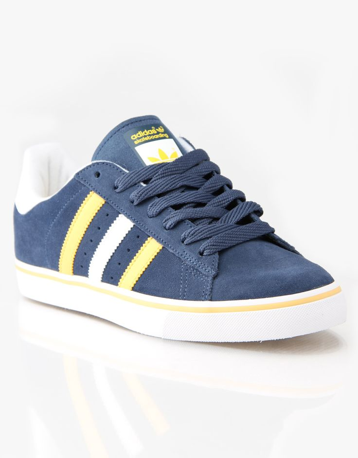Adidas Campus Vulc Skate Shoes - Uniform Blue/Fade Gold/White