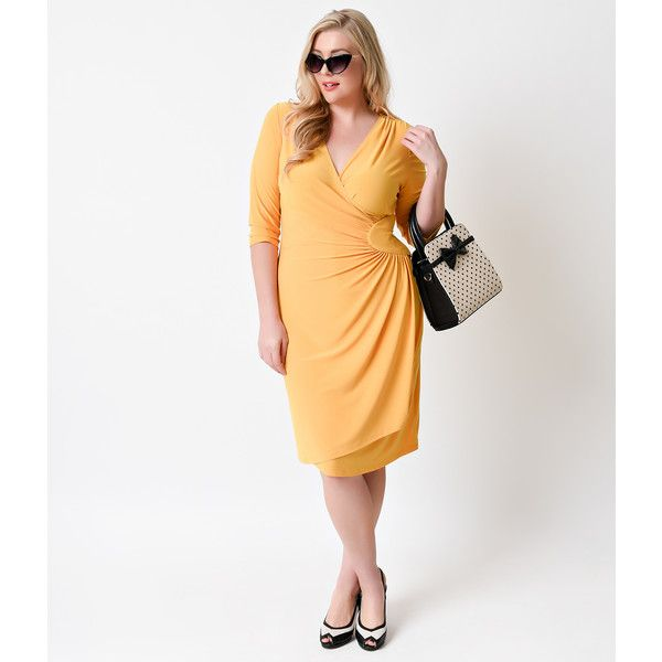 Plus Size Marigold Yellow Quarter Sleeve Ciara Cinch Wrap Dress ($98) ❤ liked on Polyvore featuring dresses, yellow, plus size dresses, faux wrap dress, white wrap dress, retro dresses and plus size white dress