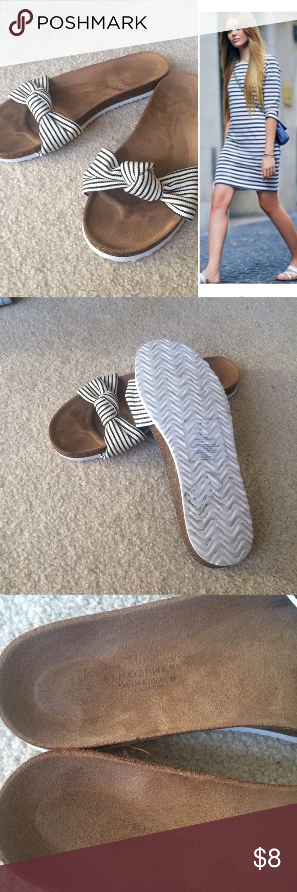 SALE ✂️ Striped Slip-ons Gently worn, in great condition. Purchased from Primark. Go with everything! Navy and white stripes. Atmosphere Shoes Sandals