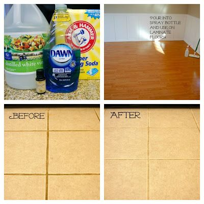 Floor Cleaner 1/4 cup washing soda 1/4 cup vinegar 1/2 TBSP  blue dawn dish soap 2 gallons HOT water (optional, few drops of lavender essential oil) Directions: Mix ingredients in the sink for mopping the kitchen floor, or pour mixture from sink into a spray bottle and use for laminate wood flooring or linoleum in bathrooms etc.