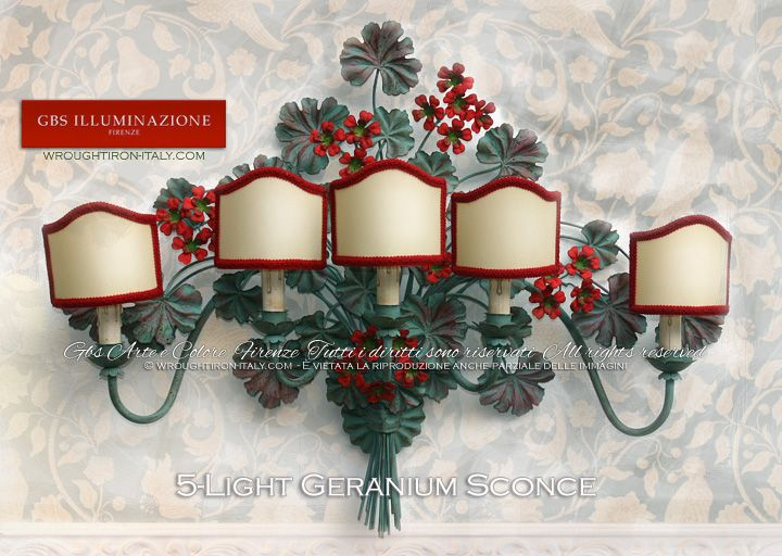 5-Light Geranium wrought iron Sconce | Authentic GBS Tole Floral Lamps, hand-made in Florence since 1925. Made in Tuscany