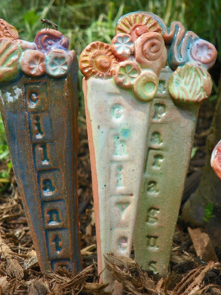 Lovely Ceramic Garden Markers For Herbs Vegetable Or By Lizardleigh