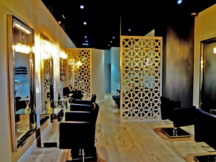 Room dividers / privacy screens in our 'Budapest' design laser cut in aluminium made this hair salon look glamorous. ~QAQ