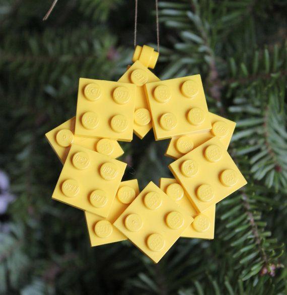 LEGO Christmas Star Ornament by ThinkOutsidetheBrick on Etsy, $3.00. We are making these!