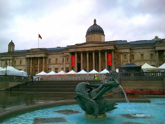 Looking toward the National Portrait Gallery in Trafalgar Square London: http://www.europealacarte.co.uk/blog/2013/03/16/national-portrait-gallery-trafalgar-square-todays-walk-16-march-2013/