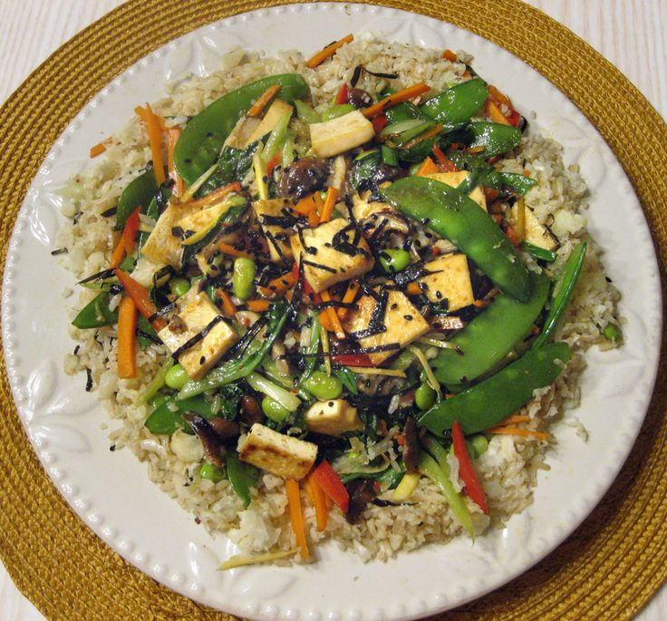 mirin-miso sauce  (Just whisk a little miso with mirin, soy sauce, drop sugar or agave, drop sesame oil.)  The other stir-fry ingredients: tofu, nori, black sesame seeds, snow peas, shiitake mushrooms, red bell pepper, edamame, ginger, green onion, bok choy, carrots, cauliflower rice.