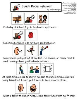 VISUAL SOCIAL STORY PACKET FOR CHILDREN WITH AUTISM: SCHOOL BEHAVIORS SET 1 - TeachersPayTeachers.com