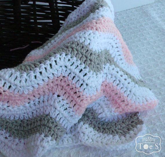 Roze en grijs Chevron gehaakte Baby deken - grijs en roze Chevron kwekerij - roze wieg beddengoed - roze en grijs Baby douchegift