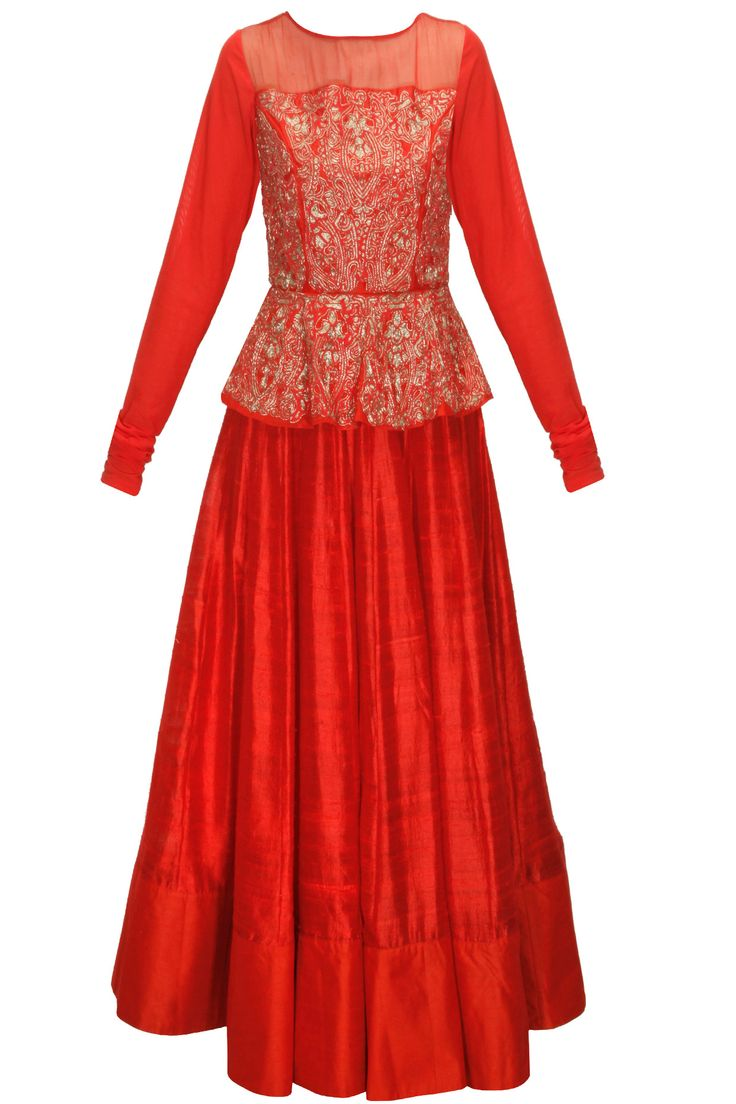 Red zardosi embroidered peplum anarkali set available only at Pernia's Pop-Up Shop.