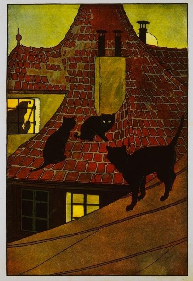 """Cats in Art: from """"Kinderhumor für Auge und Ohre"""" illustrated by Gertrud Caspari (1919)"""
