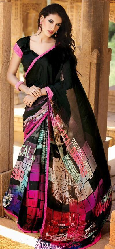 USD 206.99 Black Printed Satin Saree 28371