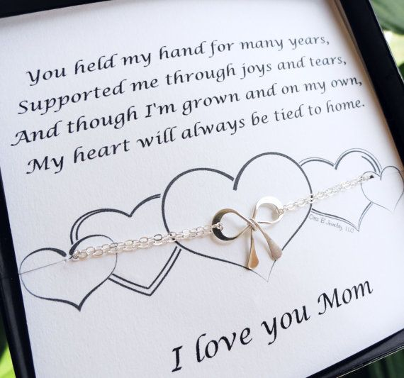 Gifts For Mom Mother Of The Bride Gift Silver Bow Bracelet With Card Wedding S Day
