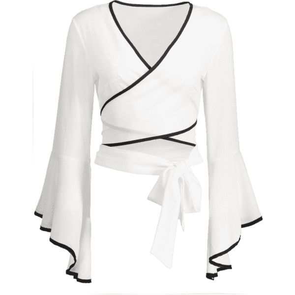 Flare Sleeve Self Tie Crop Wrap Blouse ($25) ❤ liked on Polyvore featuring tops, blouses, shirts, flared sleeve blouse, wrap top, crop blouse, crop top and white crop top