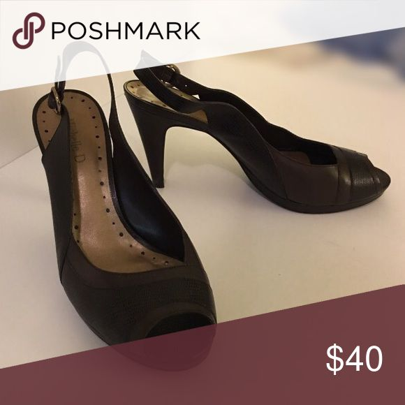 Michelle D. Peep Toe Pumps Michelle D. Brown Leather Peep Toe Pumps Michelle D. Shoes Heels