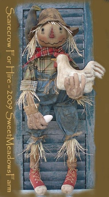 Primitive Grungy Scarecrow and Chicken Doll w/ by SweetMeadowsFarm, $10.50