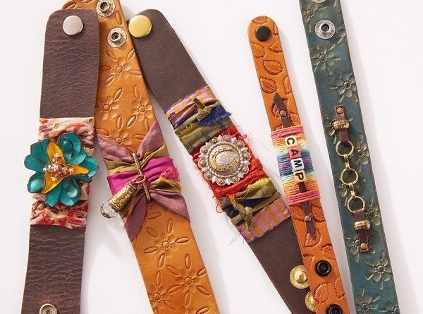 Have fun with Candie Cooper and leather jewelry making! Learn to texture, color, and embellish leather cuff bracelets, ideal for all ages!