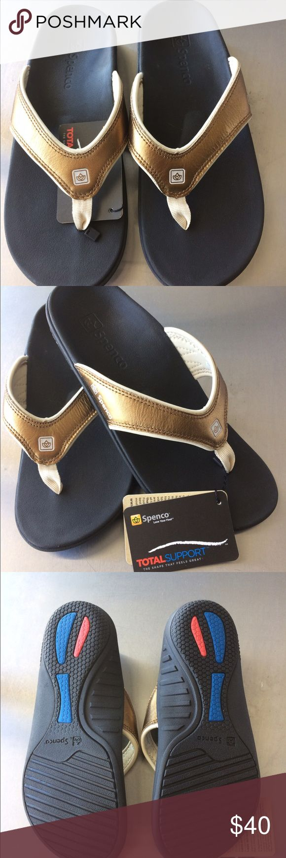 Spenco Total Support gold Flip Flops size 9 The shape that feels great! Based on the design of the highly successful insoles. Cushion teal, deep heel cupping, orthopedic arch support, meta-tarsal dome and cushioned fore foot. spenco  Shoes Sandals