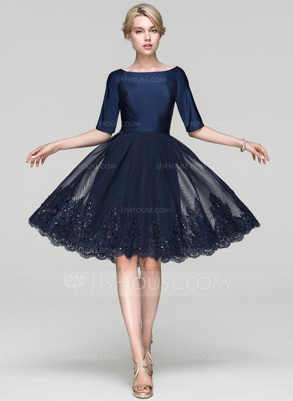 JJsHouse A-Line/Princess Scoop Neck Knee-Length Tulle Cocktail Dress With Sequins