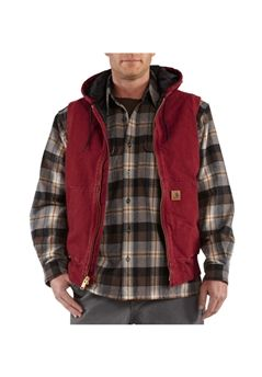 Carhartt Mens Sandstone Hooded Active Dark Red Vest | Buy Now at camouflage.ca