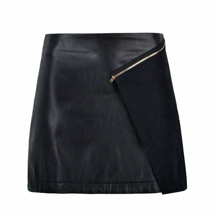 ZIP DETAIL PU AND SUEDE SKIRT
