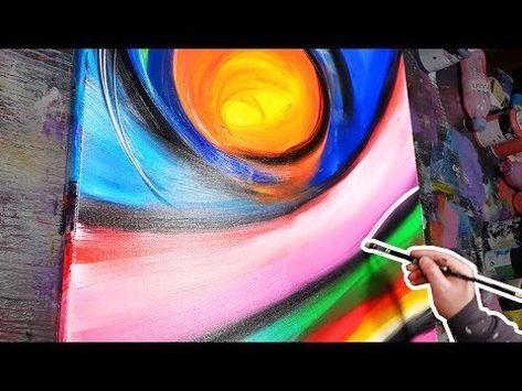 Peinture Acrylique Abstraite Technique De Taches Deau Youtube