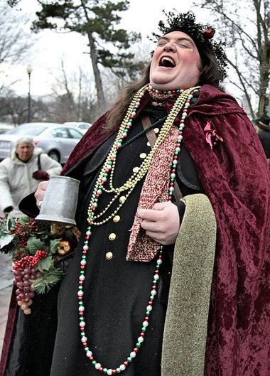 """The Ghost of Christmas Present played by Geoff Hopkins last year displayed holiday spirit outside the Sherwood Inn. Characters from """"A Christmas Carol"""" plus other contemporary figures will once again roam the village weekends through Christmas Eve. The 18th annual Dickens Christmas kicks off Friday."""