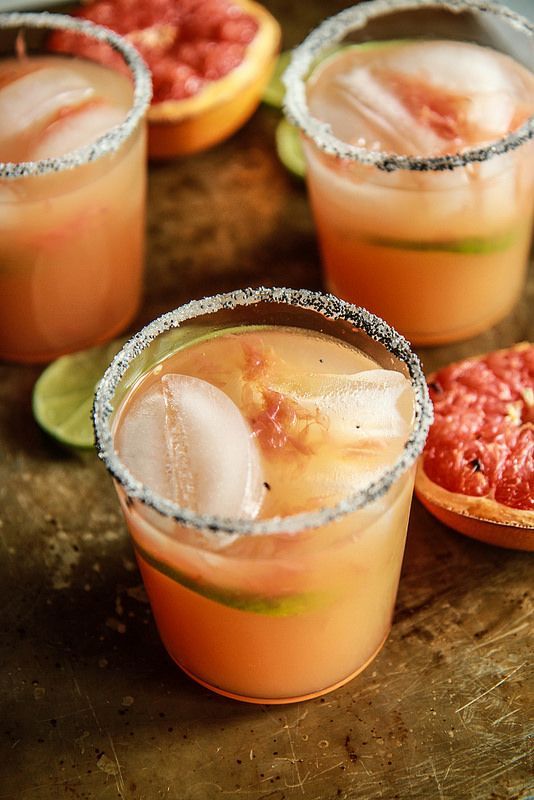 Roasted Grapefruit Margaritas with Smoked Sea Salt from HeatherChristo.com (tequila, grand marnier)