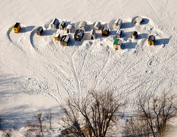 An aerial view of ice shacks on the Androscoggin River in Brunswick. Gabe Souza/Staff Photographer